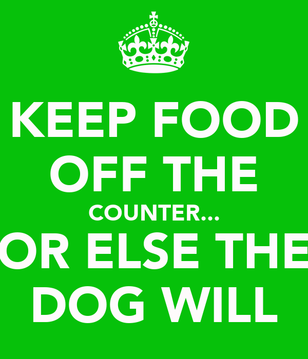 KEEP FOOD OFF THE COUNTER... OR ELSE THE DOG WILL