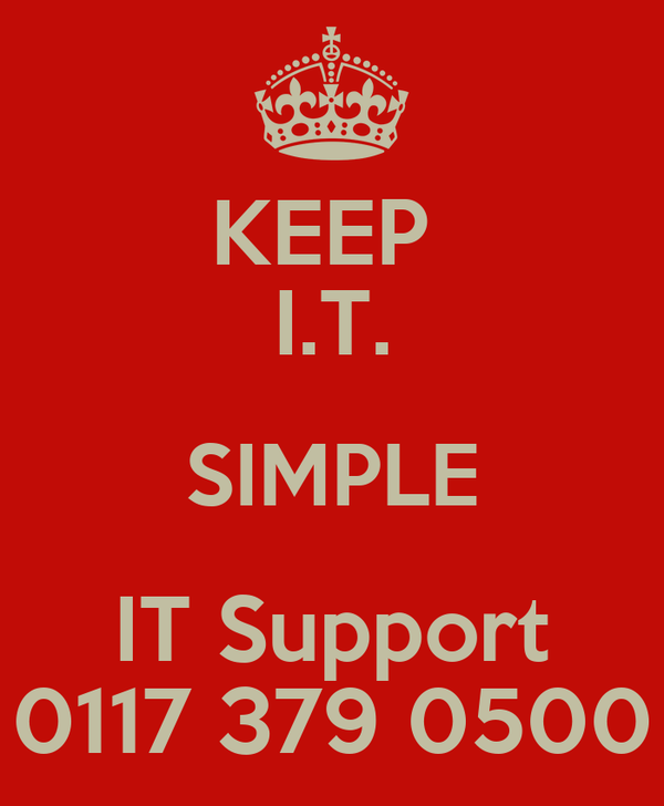KEEP  I.T. SIMPLE IT Support 0117 379 0500