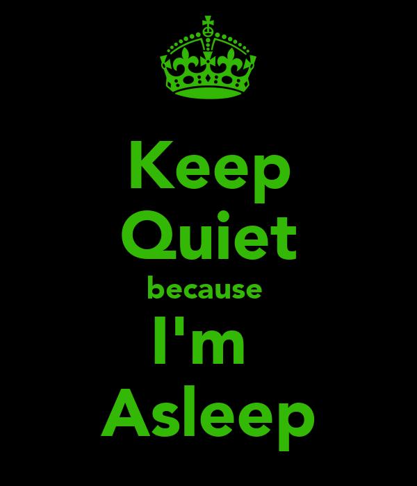 Keep Quiet because  I'm  Asleep
