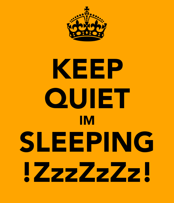 KEEP QUIET IM SLEEPING !ZzzZzZz!