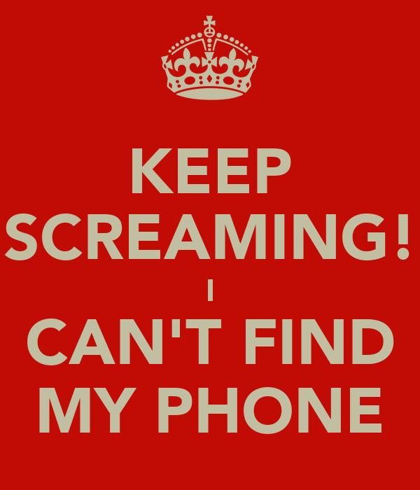 KEEP SCREAMING! I CAN'T FIND MY PHONE