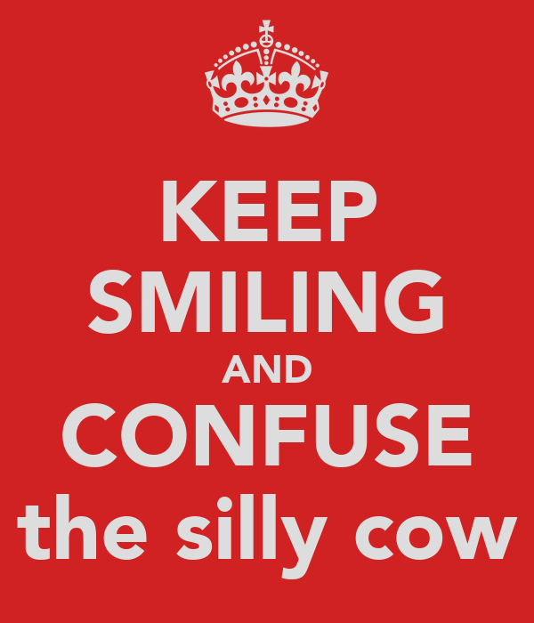 KEEP SMILING AND CONFUSE the silly cow