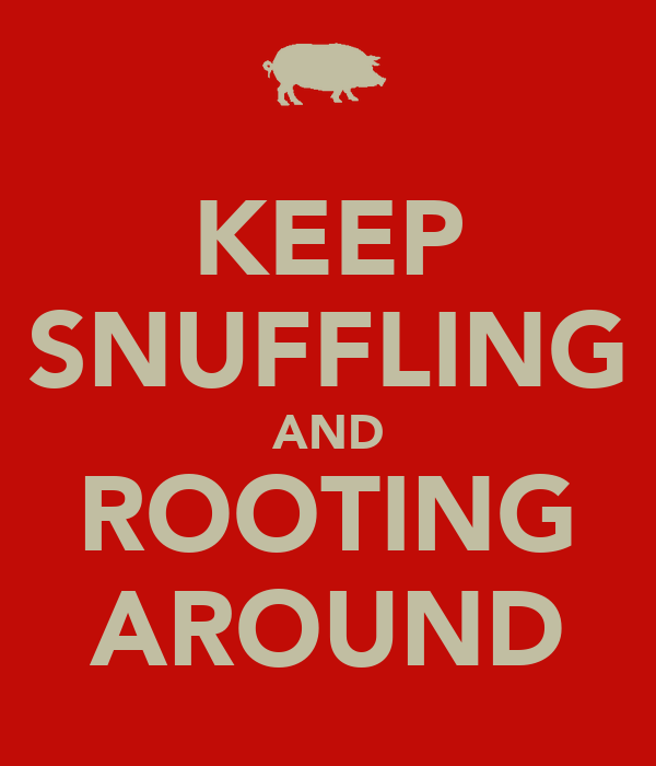 KEEP SNUFFLING AND ROOTING AROUND