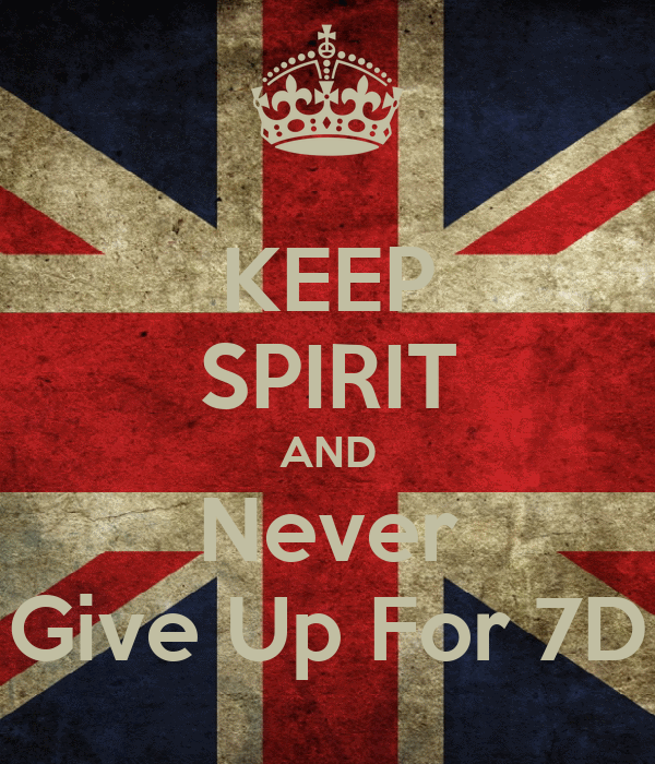 KEEP SPIRIT AND Never Give Up For 7D
