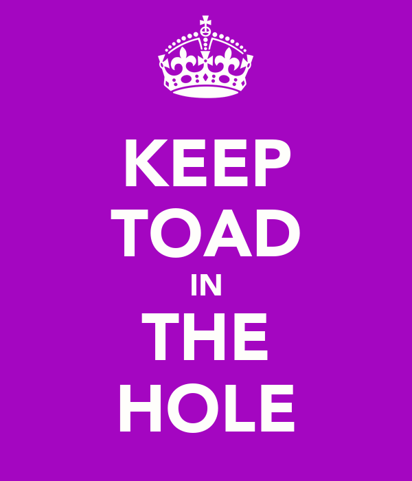KEEP TOAD IN THE HOLE