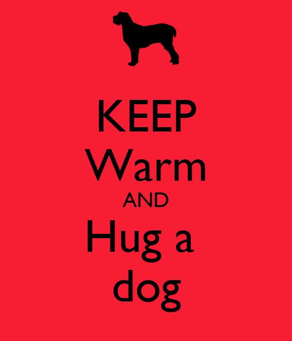 KEEP Warm AND Hug a  dog