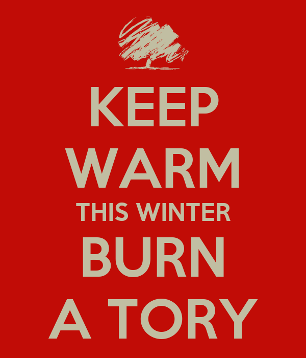 KEEP WARM THIS WINTER BURN A TORY