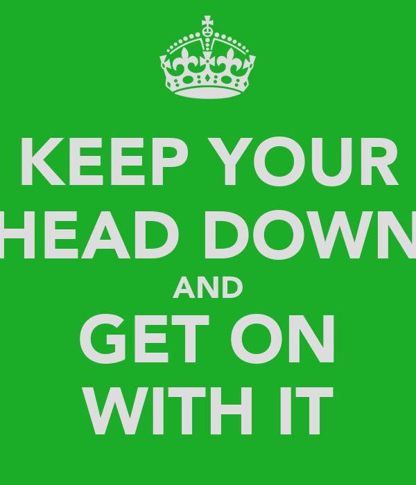 KEEP YOUR HEAD DOWN AND GET ON WITH IT