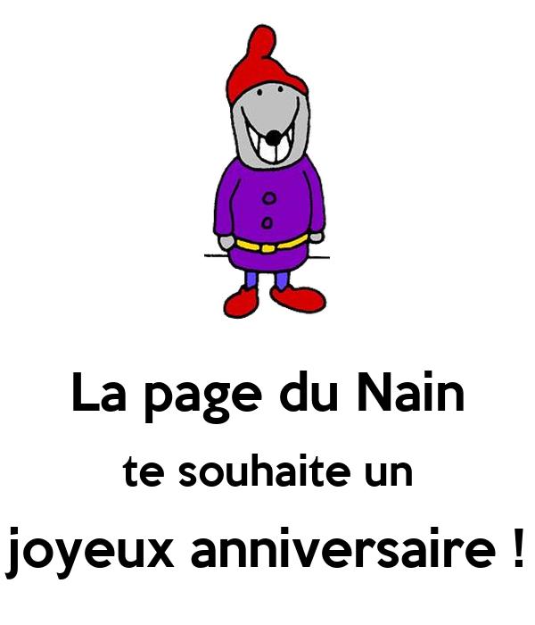 La page du Nain te souhaite un joyeux anniversaire !