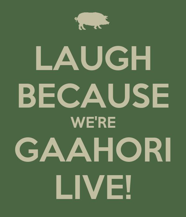 LAUGH BECAUSE WE'RE GAAHORI LIVE!