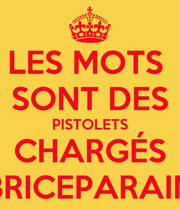 LES MOTS  SONT DES PISTOLETS CHARGÉS BRICEPARAIN