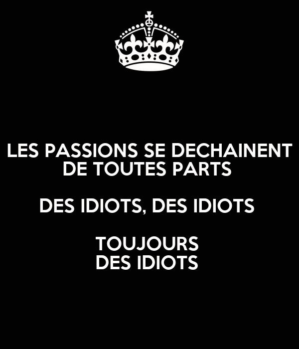 LES PASSIONS SE DECHAINENT DE TOUTES PARTS  DES IDIOTS, DES IDIOTS  TOUJOURS  DES IDIOTS