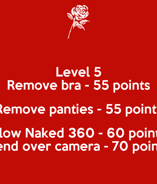 Level 5 Remove bra - 55 points Remove panties - 55 points Slow Naked 360 - 60 points bend over camera - 70 points