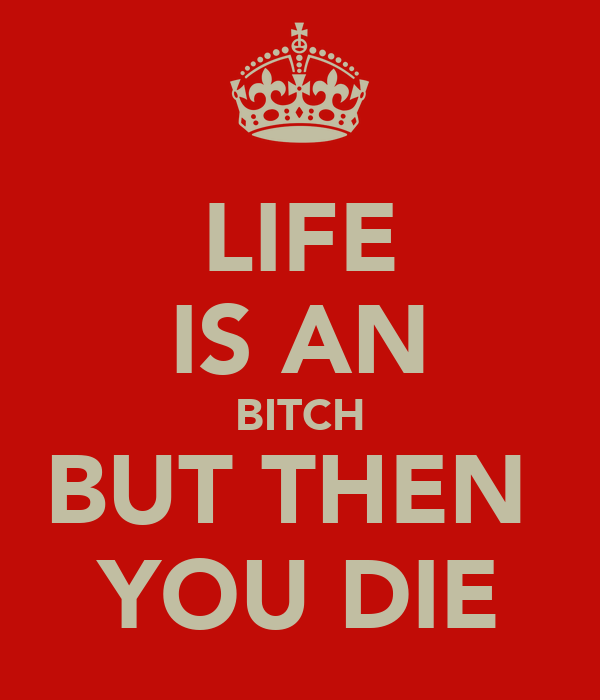 LIFE IS AN BITCH BUT THEN  YOU DIE