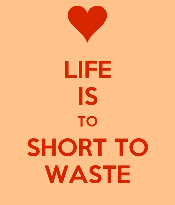 LIFE IS TO SHORT TO WASTE