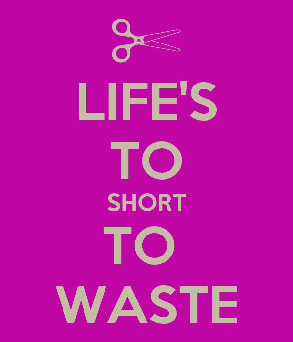 LIFE'S TO SHORT TO  WASTE