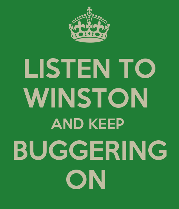 LISTEN TO WINSTON  AND KEEP  BUGGERING ON