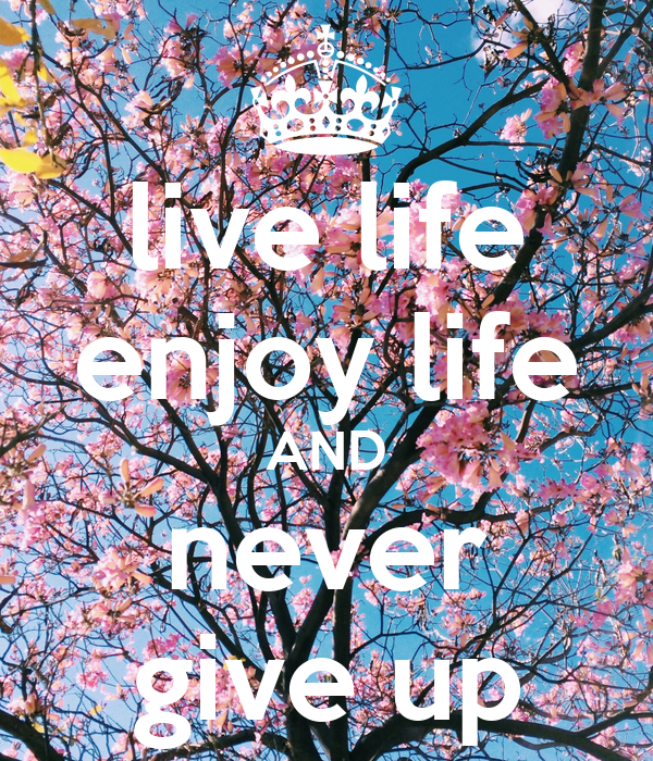 live life enjoy life AND never give up