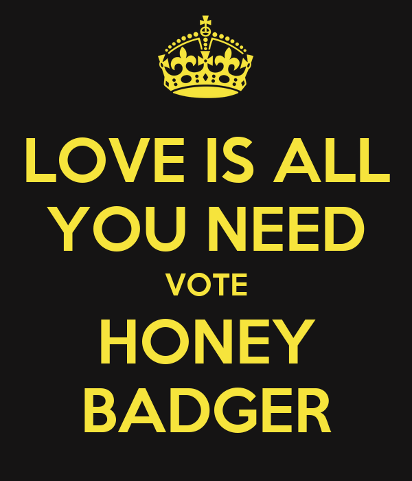 LOVE IS ALL YOU NEED VOTE HONEY BADGER