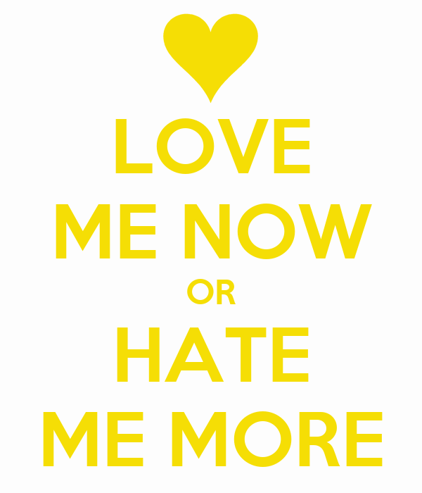 LOVE ME NOW OR HATE ME MORE