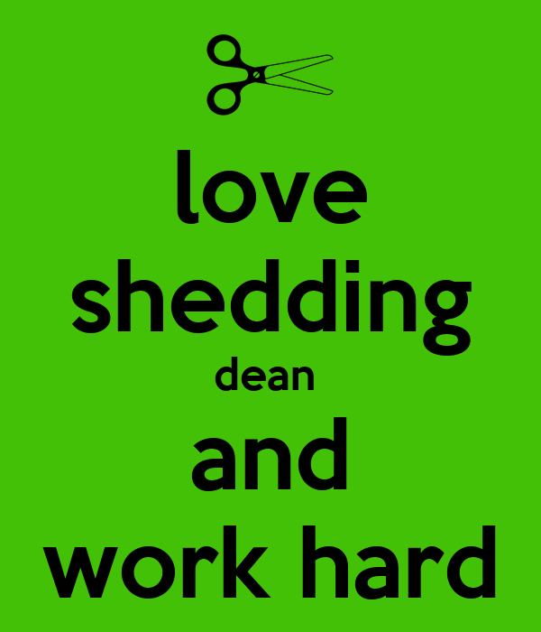 love shedding dean  and work hard
