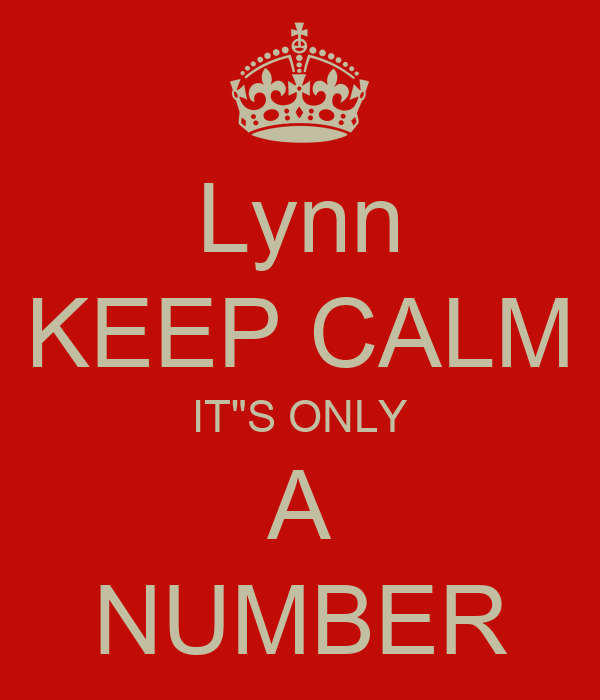 "Lynn KEEP CALM IT""S ONLY A NUMBER"