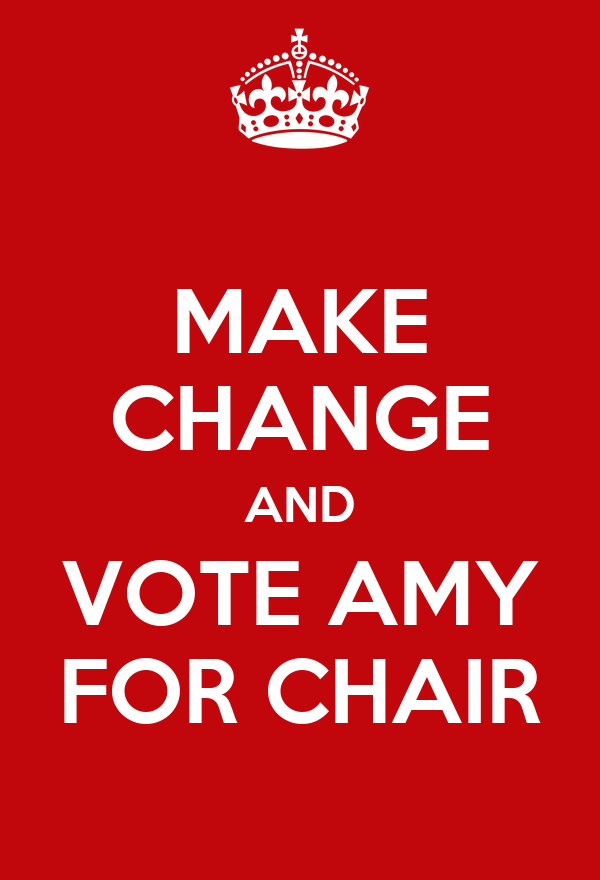 MAKE CHANGE AND VOTE AMY FOR CHAIR