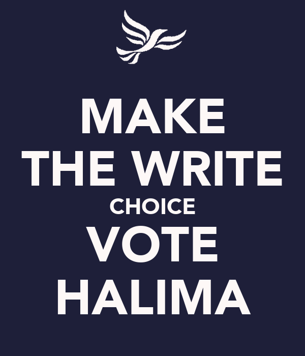 MAKE THE WRITE CHOICE VOTE HALIMA