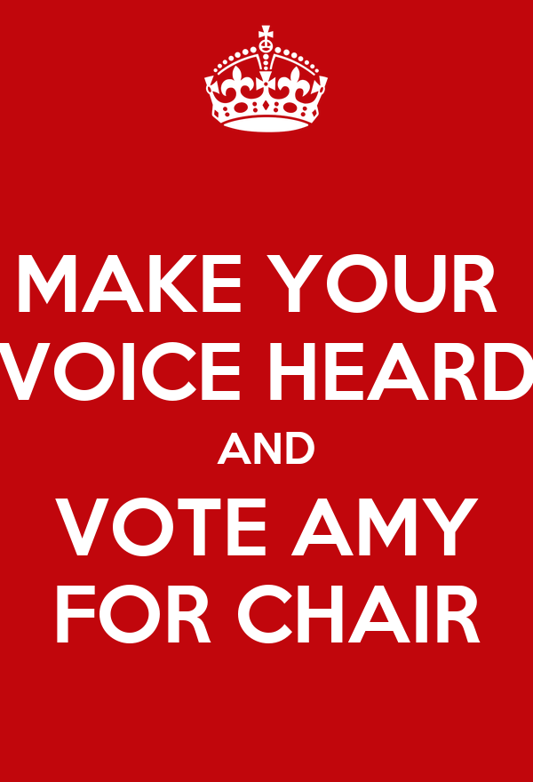 MAKE YOUR  VOICE HEARD AND VOTE AMY FOR CHAIR