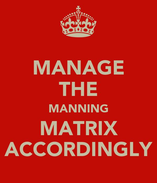 MANAGE THE MANNING MATRIX ACCORDINGLY