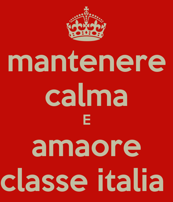 mantenere calma E amaore classe italia