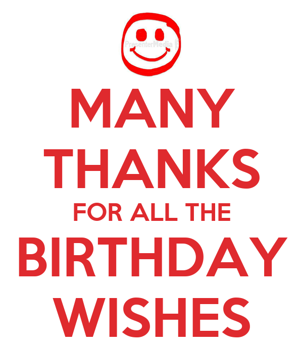MANY THANKS FOR ALL THE BIRTHDAY WISHES