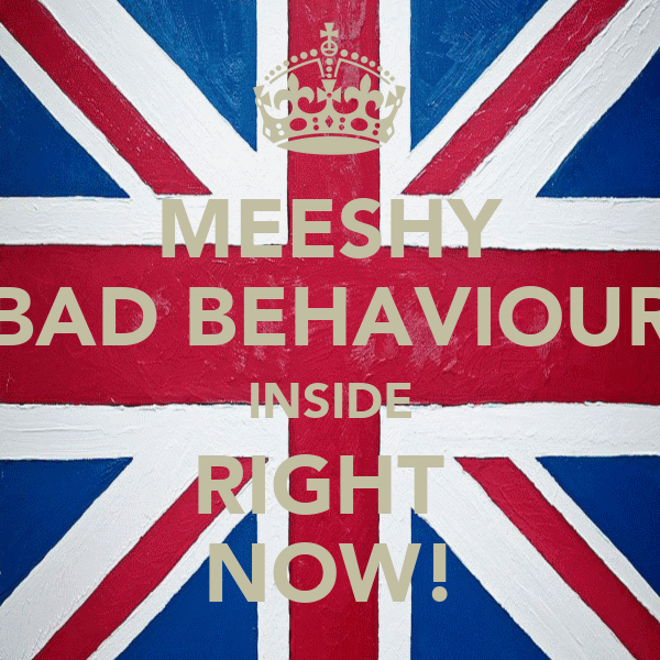 MEESHY BAD BEHAVIOUR INSIDE RIGHT  NOW!