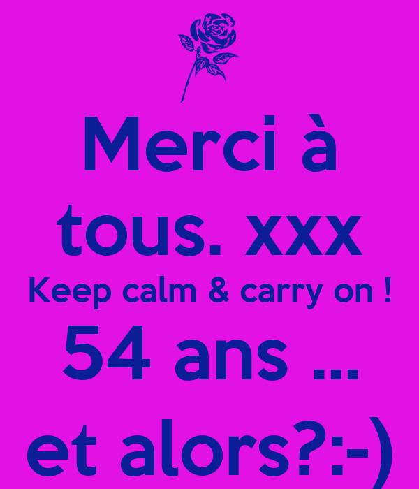 Merci à tous. xxx Keep calm & carry on ! 54 ans ... et alors?:-)