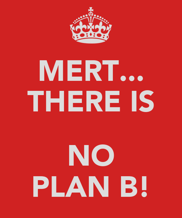 MERT... THERE IS  NO PLAN B!