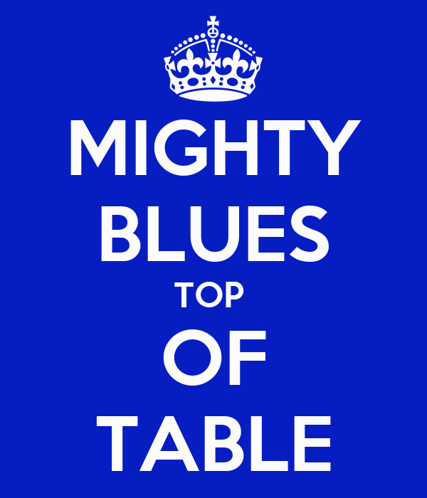 MIGHTY BLUES TOP  OF TABLE