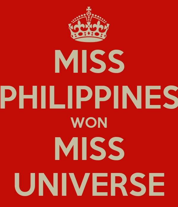 MISS PHILIPPINES WON MISS UNIVERSE