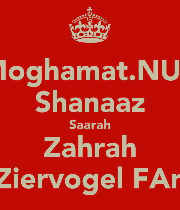 Moghamat.NUR Shanaaz Saarah Zahrah the Ziervogel FAmILY