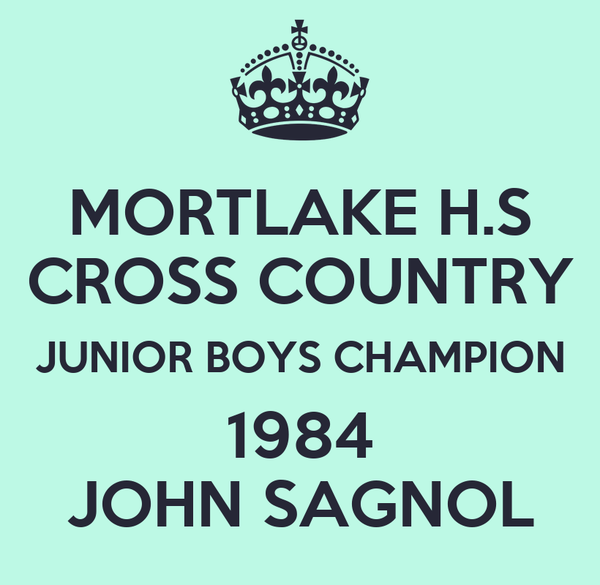 MORTLAKE H.S CROSS COUNTRY JUNIOR BOYS CHAMPION 1984 JOHN SAGNOL
