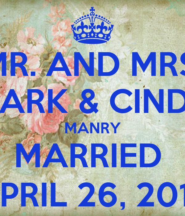MR. AND MRS. MARK & CINDY MANRY MARRIED  APRIL 26, 2014