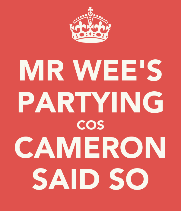 MR WEE'S PARTYING COS CAMERON SAID SO