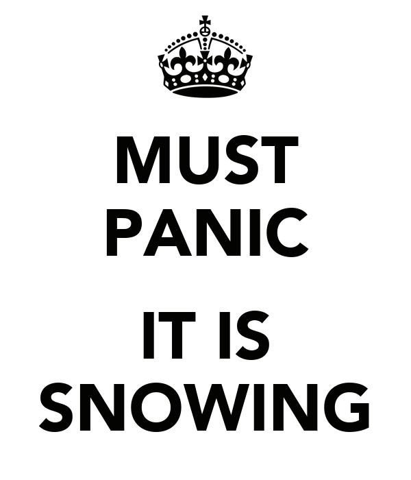 MUST PANIC  IT IS SNOWING