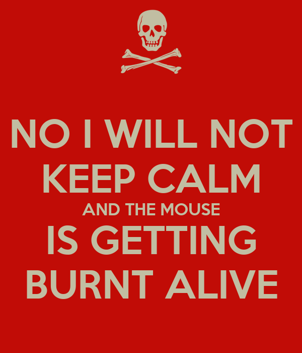 NO I WILL NOT KEEP CALM AND THE MOUSE IS GETTING BURNT ALIVE