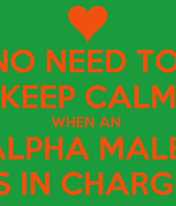 NO NEED TO  KEEP CALM WHEN AN  ALPHA MALE  IS IN CHARGE