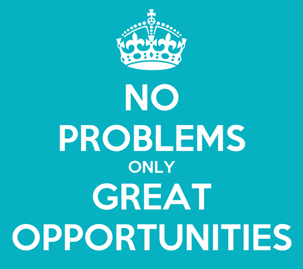NO PROBLEMS ONLY GREAT OPPORTUNITIES