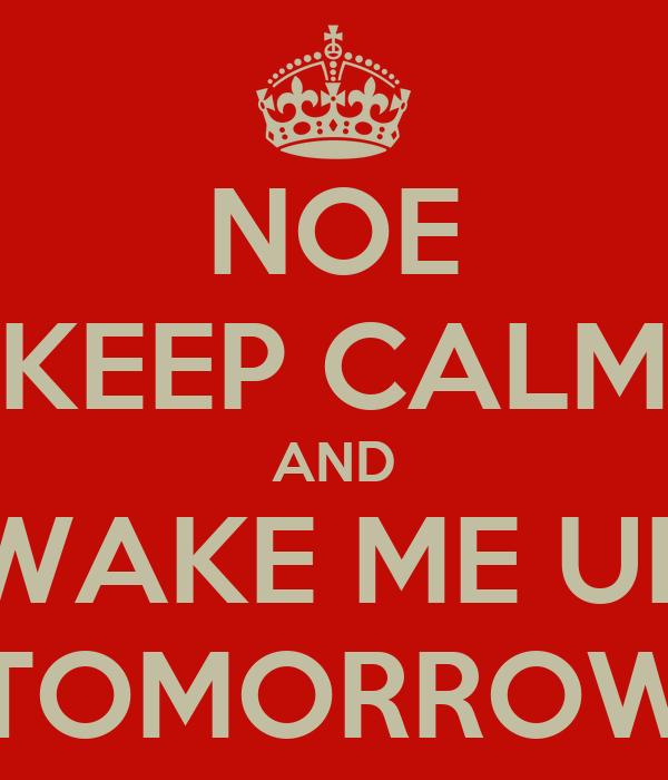 NOE KEEP CALM AND WAKE ME UP TOMORROW