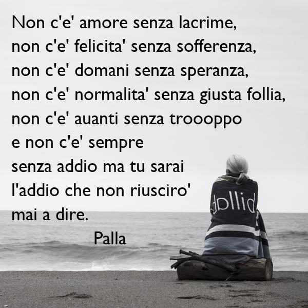 Non c'e' amore senza lacrime,  non c'e' felicita' senza sofferenza,   non c'e' domani senza speranza, non c'e' normalita' senza giusta follia,  non c'e' auanti senza troooppo e non c'e' sempre  senza