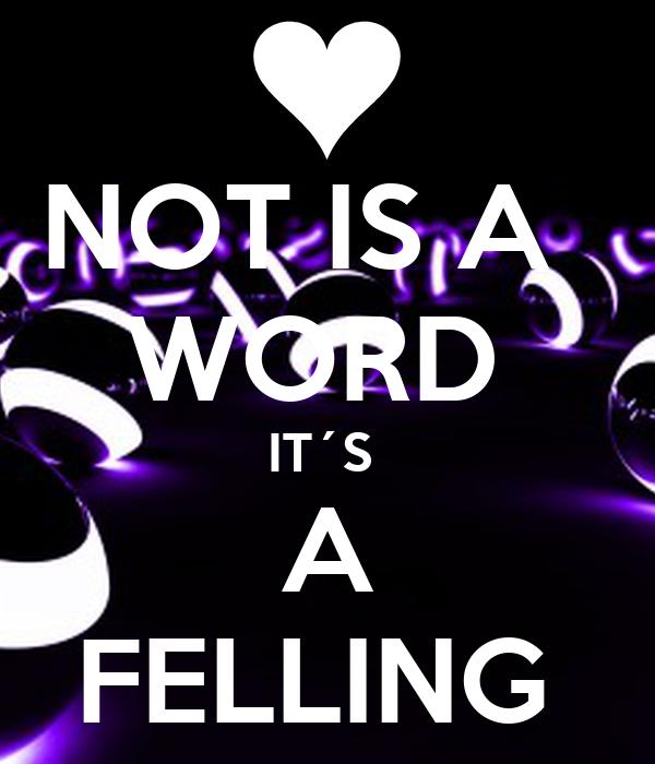 NOT IS A   WORD  IT´S  A FELLING