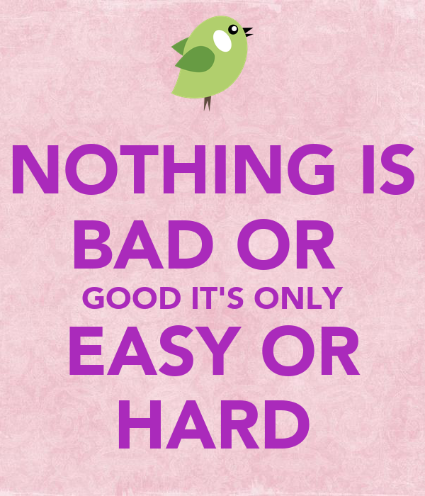 NOTHING IS BAD OR  GOOD IT'S ONLY EASY OR HARD