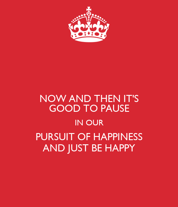NOW AND THEN IT'S GOOD TO PAUSE IN OUR PURSUIT OF HAPPINESS AND JUST BE HAPPY
